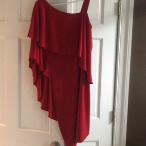 One shoulder layered sleeve  red dress. Size4
